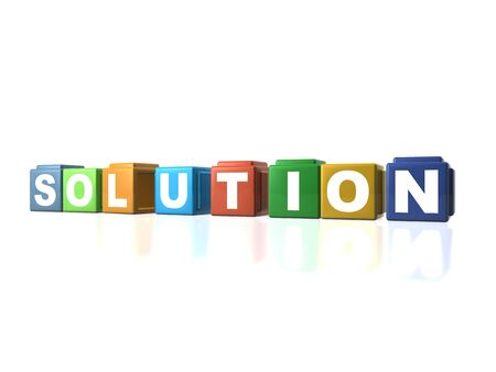Multi colour building blocks spelling out SOLUTION Stock Photo