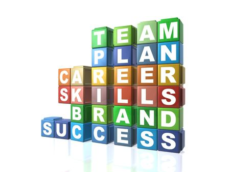 Multi colour building blocks spelling out business words Stock Photo