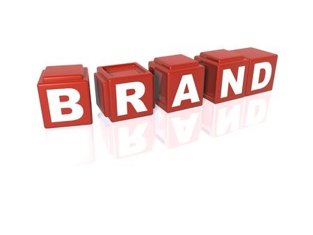 Red building blocks spelling out BRAND