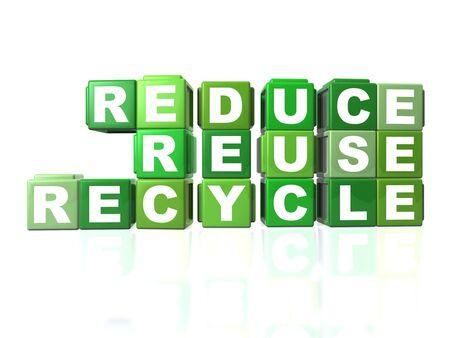 recycle: Green blockiert, dass buchstabiert aus REDUCE, REUSE & RECYCLE