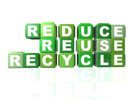 Green blocks that spells out REDUCE, REUSE & RECYCLE Stock Photo