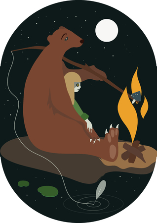 pathfinder: The bear and the girl with campfire flat illustration