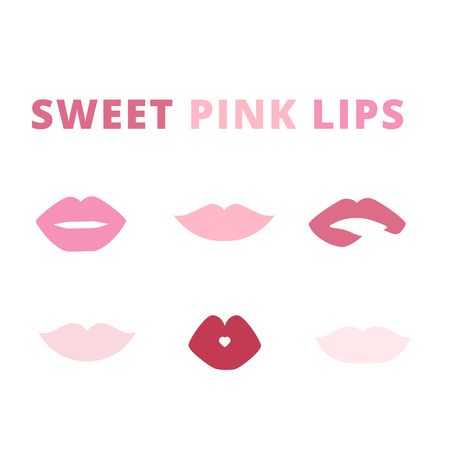 make up model: pink lips smile kiss vector isolated set