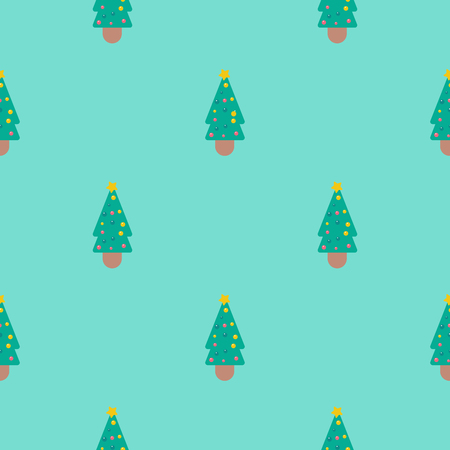 Vector Seamless Pattern with Christmas Tree, Holiday Decor Background, Seamless Tree Pattern