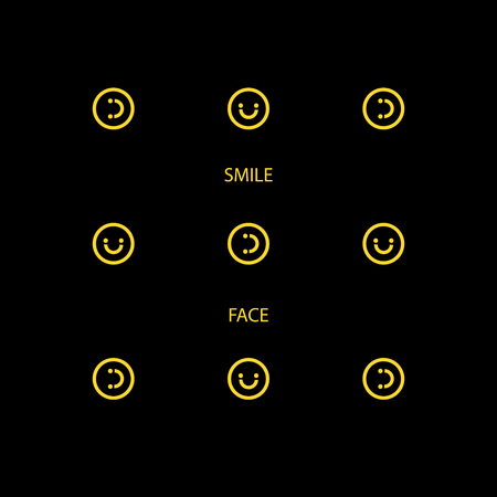 Vector Abstract Smile Face Backgrounds, Happy Face Backgrounds, Black and Yellow Brochures, Colorful Album Covers and Banners,  Cute Icon Pattern