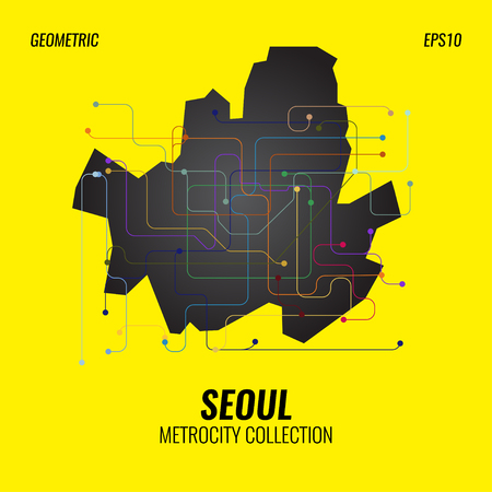 Seoul Metro Map, City Subway Graphic, Vector Abstract Poster Templates, Geometric Hipster Backgrounds, Brochures, Minimal Flat Design Vectores