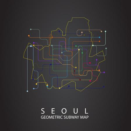 Seoul Subway Map Vector.Seoul Metro Map