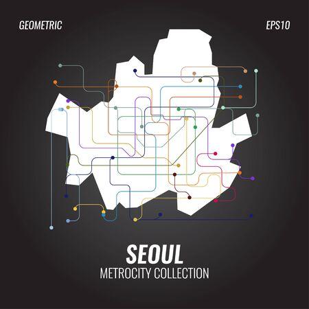 Mapa metra w Seulu, grafika metra miejskiego, szablony plakatów abstrakcyjnych wektorów, geometryczne tła hipster, broszury, minimalna płaska konstrukcja Ilustracje wektorowe