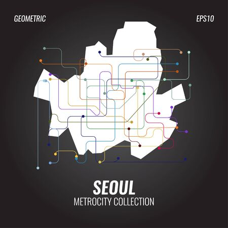 Seoul Metro Map, City Subway Graphic, Vector Abstract Poster Templates, Geometric Hipster Backgrounds, Brochures, Minimal Flat Design Ilustração