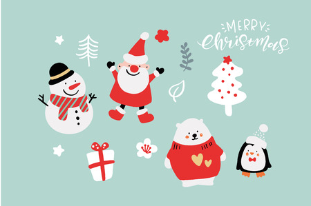 Vector Cute Christmas Graphics, Graphic Poster with Hand Drawn Elements, Holiday Backgrounds, Greeting Cards, X-mas Invitations, Lovely Characters Illustration