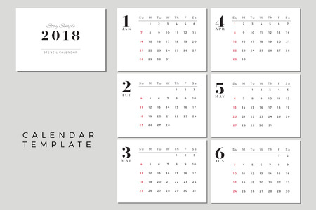 2018 Vector Calendar Template January to June, 2018 Simple Planner, New Year Schedule Calendar, Minimal Stationery, Yearly Calendar