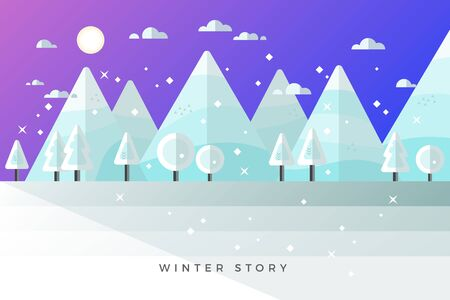 Flat Winter Landscape, Snowy Street Poster, Christmas Card, Happy Holidays Banner, Vector illustration, Minimal Flat Design Background