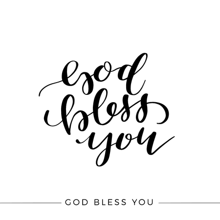 God Bless You lettering quote vector illustration Çizim