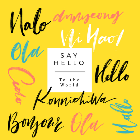A set of words hello in different language greetings vector a set of words hello in different language greetings vector hand lettering stock vector m4hsunfo