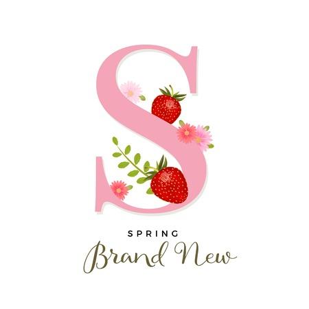 Alfabeto S con fragole realistiche di vettore, design di primavera con fragole e fiori rosa Archivio Fotografico - 97357313
