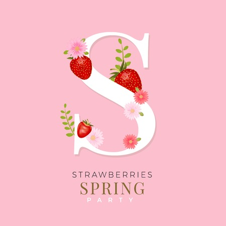 Alphabet s with realistic vector strawberries spring design alphabet s with realistic vector strawberries spring design with strawberries and pink flowers stock vector mightylinksfo