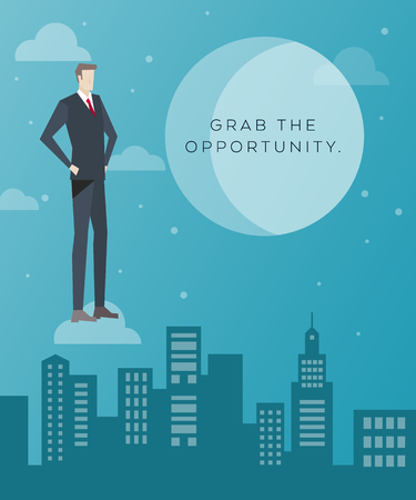 Business Concept Artwork, Vector Flat Design, Grab the Opportunity, Business Man on the Cloud and City Background, Work People Character Concept Illustration