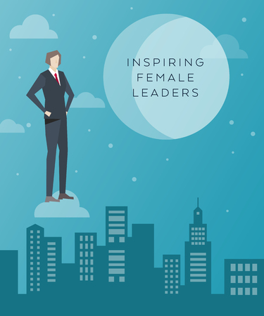 Business Concept Artwork, Vector Flat Design, Inspiring Female Leaders, Business Woman on the Cloud and City Background in Pants Suit, Work People Character Concept