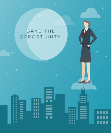 Business Concept Artwork, Vector Flat Design, Grab the Opportunity, Business Woman on the Cloud and City Background in Skirt Suit, Work People Character Concept
