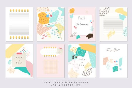 A Vector Abstract Notes and Covers Templates, Graphic Poster with Pastel Trendy Patterns, Spring Colors, Organic Stroke Hipster Backgrounds, Brochures, Album Covers and Banners