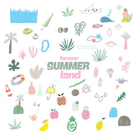 Summer Color Vector Abstract Covers Templates.
