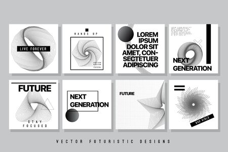 Vector Abstract Covers Templates, Contemporary Art Graphic Poster with Geometric Patterns