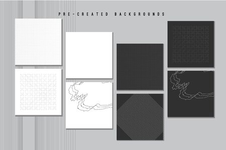 Vector Abstract Backgrounds, Contemporary Art Graphic Poster with Geometric Patterns