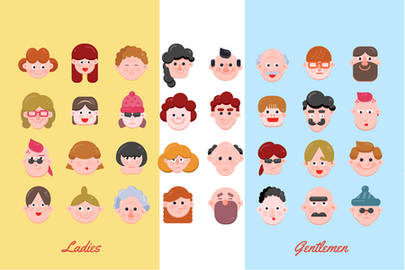 People Vector Illustration, Vector Flat Character Faces, Cute Avatar Collection, Flat Design, Various Age Group Character Concept, Modern Web Icon Set Ilustrace