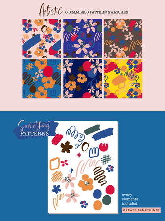 Colorful abstract floral pattern set