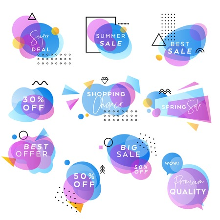 Blue and Purple Vector Abstract Sale Banners Collection, Pastel Gradient Design, Business Templates, Modern Geometric Hipster Backgrounds, Web Sale Announcement Banner