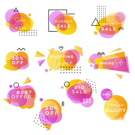 Yellow and Purple Vector Abstract Sale Banners Collection, Pastel Gradient Design, Business Templates, Modern Geometric Hipster Backgrounds, Web Sale Announcement Banner