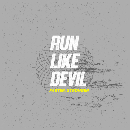 Run Like Devil, Vector Tshirt Design with Slogan Typography, Futuristic Typography, Sports Covers Collection, Athletic T Shirt Graphic Design, Vector Illustration, Young Trendy Fashion Style Ilustrace