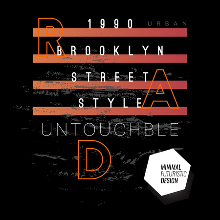 Brooklyn Street Style, Vector Tshirt Design with Slogan Typography, Futuristic Typography, Album Covers Collection, T Shirt Graphic Design, Vector Illustration, Artistic Concept, Young Trendy Fashion Style Ilustrace