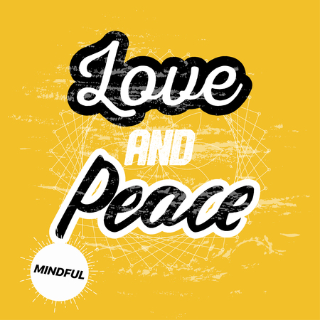 Vector Tshirt Design with Slogan Typography, Love and Peace, Album Covers Collection, T Shirt Graphic Design, Vector Illustration, Artistic Concept, Young Trendy Fashion Style