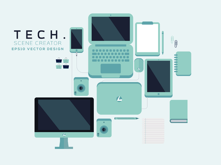 Tech Device Illustration, Tech Mockup Elements, Web Icons, Business Concept, Vector Flat Design, Phone, Tablet, Laptop, Stationery
