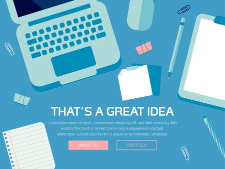 Desk Scene, Tech Device Illustration, Tech Mockup Elements, Web Page Design, Business Concept, Vector Flat Design, Laptop, Stationery