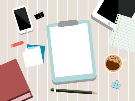 Desk Scene, Tech Device Illustration, Tech Mockup Elements, Web Page Design, Business Concept, Vector Flat Design, Phone, Tablet, Stationery