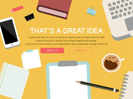 Desk Scene, Tech Device Illustration, Tech Mockup Elements, Web Page Design, Business Concept, Vector Flat Design, Phone, Laptop, Stationery