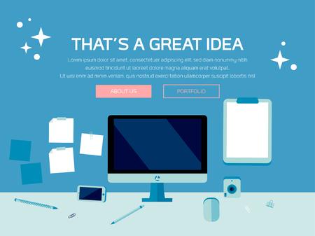 Desk Scene, Tech Device Illustration, Tech Mockup Elements, Web Page Design, Business Concept, Vector Flat Design, Phone, Tablet, Desktop, Stationery