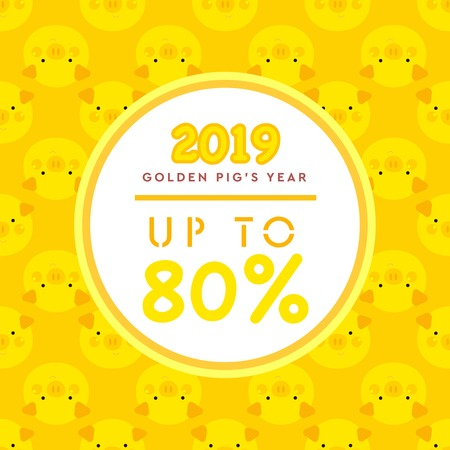Pig's Year Illustration, Golden Piggy, Seamless Pattern, 2019 New Year Celebration, Gold Pig Vector, Vector Sale Cards, Pig's Year Character Design Ilustrace