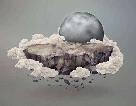 desolate: Fictional spatial scenery with a bare cliff floating surrounded by clouds in the outer space near the moon with falling stones and shadow on gray
