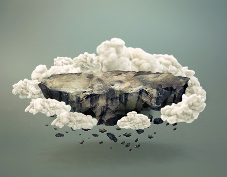 disintegrating: Surreal unpopulated rocky island surrounded by clouds floating and disintegrating in midair with shadow on gray