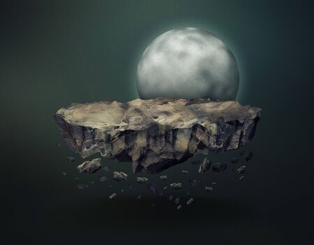 remnant: Disintegrating surreal meteorite with falling meteoric stones gravitating near the moon in the dark outer space