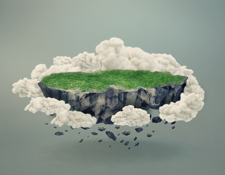 Rocky disintegrating island covered by green grass floating in midair surrounded by clouds or smoke with shadow and copy space on gray