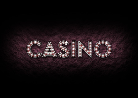 dynamic background: Illustrated casino sign made of shining lights