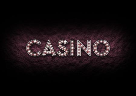ortseingangsschild: Illustriert Casino Zeichen der leuchtenden Lichter aus