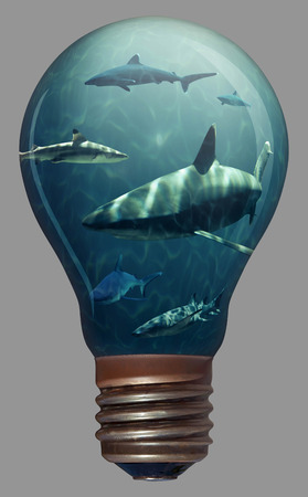 tank fish: Sharks in a light bulb for easy use in designs and layouts Stock Photo