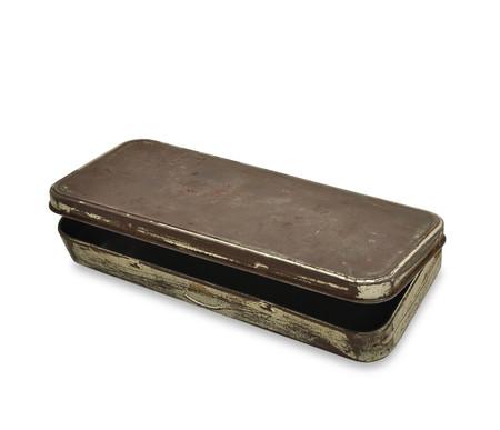 rusty metal: empty and open old worn rusty metal tin Stock Photo
