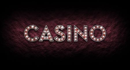 ortseingangsschild: Casino-Zeichen von glänzenden Lichter aus