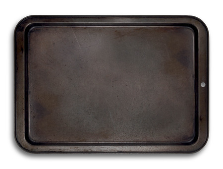 podnos: Prázdný plech na pečení izolované pro snadné použití v rozvržení Reklamní fotografie